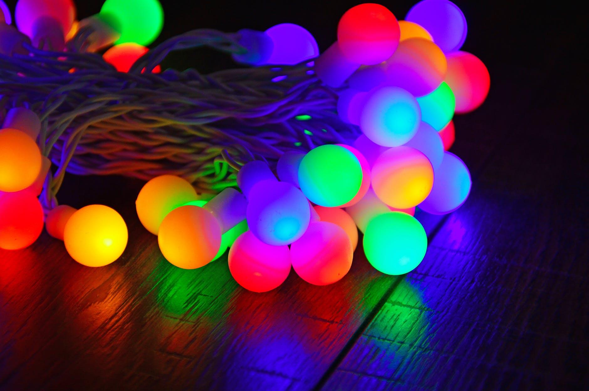 bulb lights on dark room