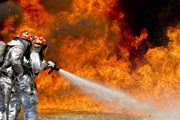 water outside fire hose